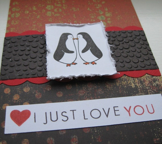 I Just Love You Penguin Valentine Greeting Card