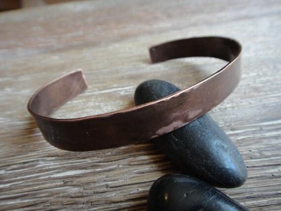 Men's Rough Patina Copper Cuff - Narrow Rugged Rustic