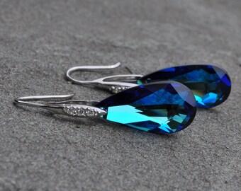 Bridesmaid Something Bermuda Blue Earrings - Available in Clear, Bermuda Blue, Vitrail, Ocean Blue, Fire Opal, Clear AB
