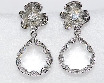 Wedding Bridal Bridesmaid Dogwood Blossom Earrings with Lacy Teardrops - Available in Black, Green, Purple, Fuschia, Blue, Grey