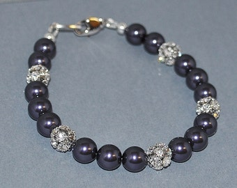Bridesmaid Swarovski Pearl and Rhinestone Bracelet in Purple - Available in White, Cream, Black, Silver, Blue, Red, Pink, Green, Brown