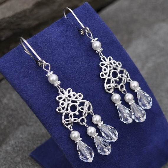 Chandelier Earrings with Swarovski Pearls and Crystals in a Delicate Bali Filigree - Custom Requests Welcome