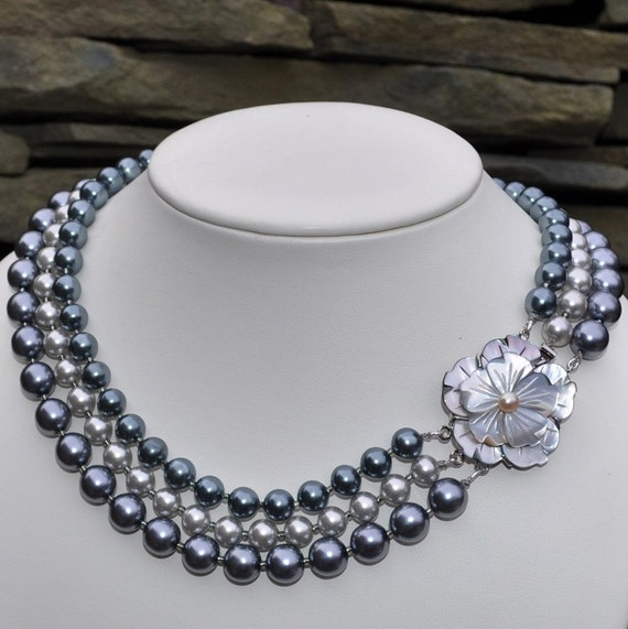 After Dark Black and Silver Pearl Multistrand Necklace and Earrings - Custom Requests Welcome