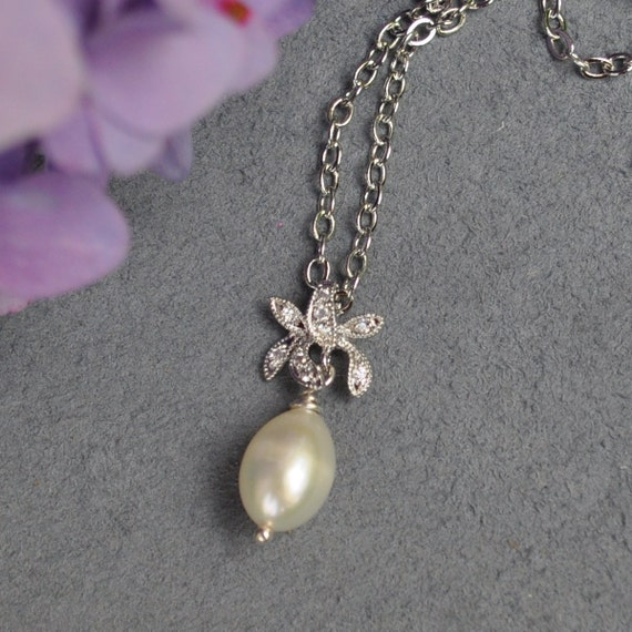 Delicate Orchid And Pearl Necklace - Custom Requests Welcome
