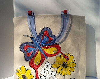 Tote bag purse lunch bag with plastic handles hand painted with spring flowers and butterfly