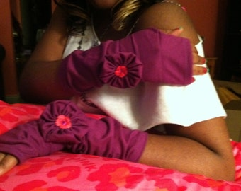 Gloves fingerless fancy hands with one rosette on either side for women and young girls