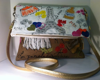 Pruse clutch cross body bag 5 in 1 styles canvas hand painted leather strap with Paris theme