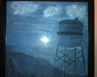 Art painting on canvas A view of a water tower form the LIRR