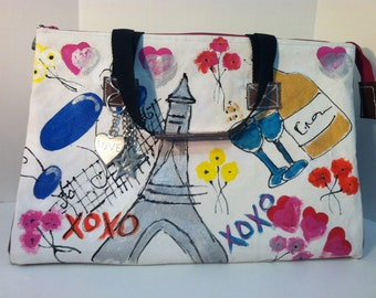 Satchel tote purse large canvas and patent leather hand painted Paris theme bag
