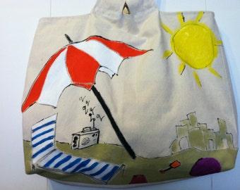 Beach bag heavy canvas Large hand painted beach theme round bamboo handles