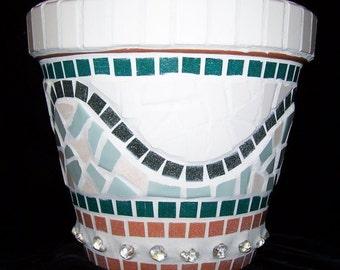 Naples Mosaic Flower Pot Large Terracotta Planter Beads & Pieces MOP7021