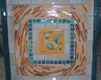 Bird In A Nest Mosaic Serving Tray  MOT3005