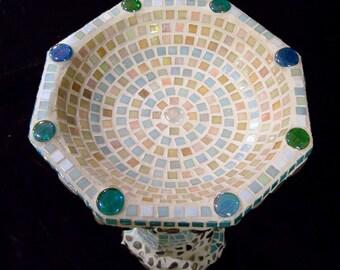 Peace and Serenity Mosaic Birdbath Garden Statuary  MOO5099