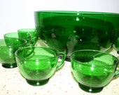 Vintage Emerald Green Punch Bowl and Cups