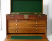 Vintage Oak Machinist Tool Chest Box