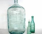 Vintage Carboy Water Bottle / Embossed Aqua 5 Gallon Bottle