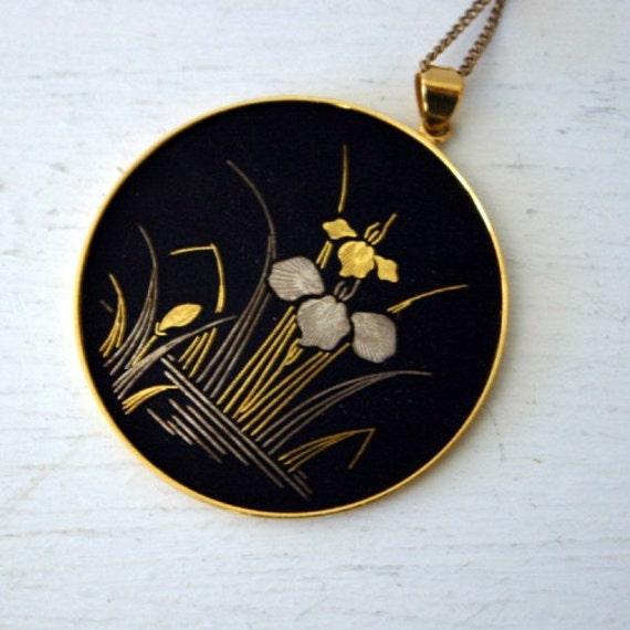 Italian Gold Chain >> Vintage Amita Damascene Pendant Necklace by ConceptFurnishings