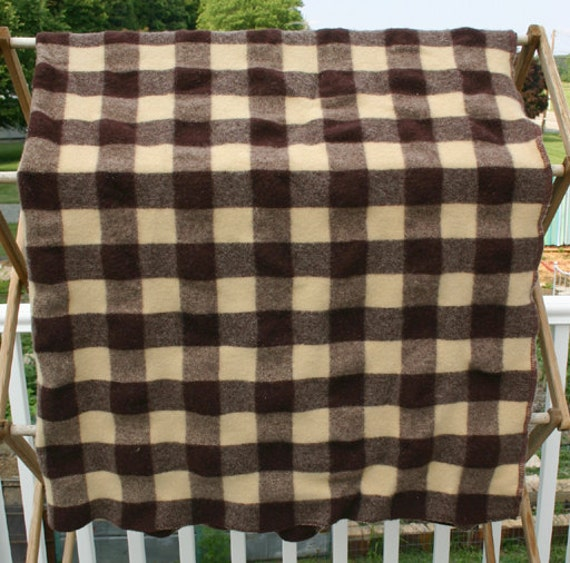 Vintage Checked Wool Sofa Throw Blanket By Conceptfurnishings