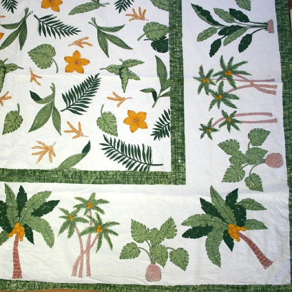 Vintage Table Cloth  Palm Trees Flowers Green Gold
