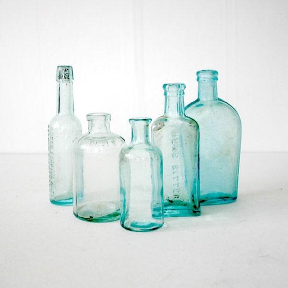 5 Aqua Green Apothecary  Bottles