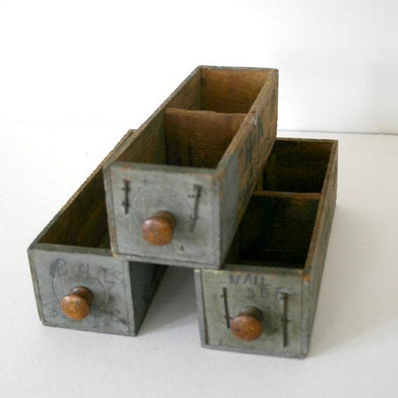 3 Hardware Store Cheese Box Drawers