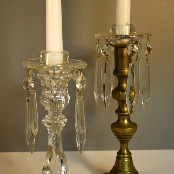 Candle Bobeche Pair With Chandelier Crystals By