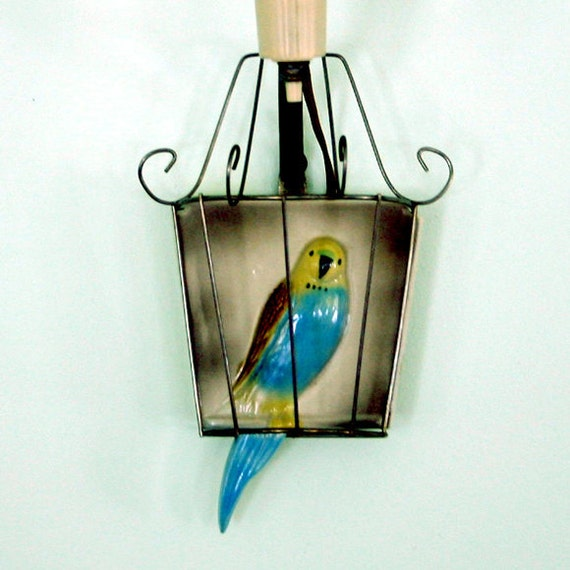 Vintage Parakeet Wall Sconce Lamp / Parrot Sconce Lamp