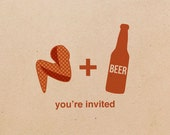 20 hotwings & beer party invitations, kraft postcard invites