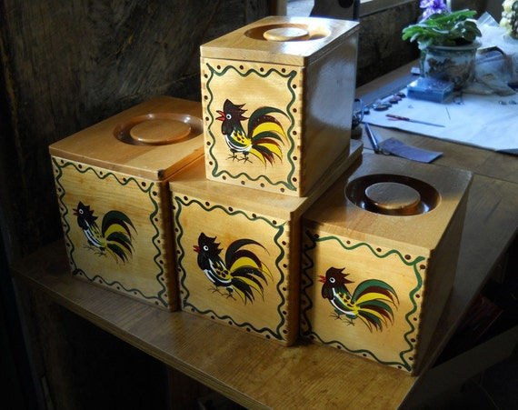 Vintage Collectible Rooster Wooden Canister Set