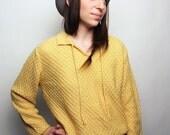 Women's Vintage Yellow Knit Sweater