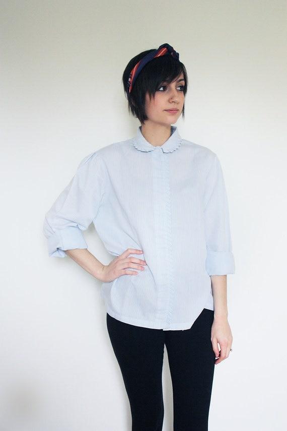 Women's Vintage Blue White Striped Blouse