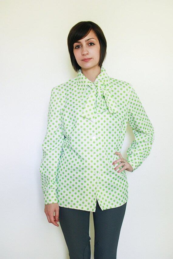 Vintage White and Green Polka Dot Blouse S/M