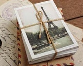 Paris Vintage Kraft Envelopes Postcards Stamps Packaging DIY Box Set 43pcs