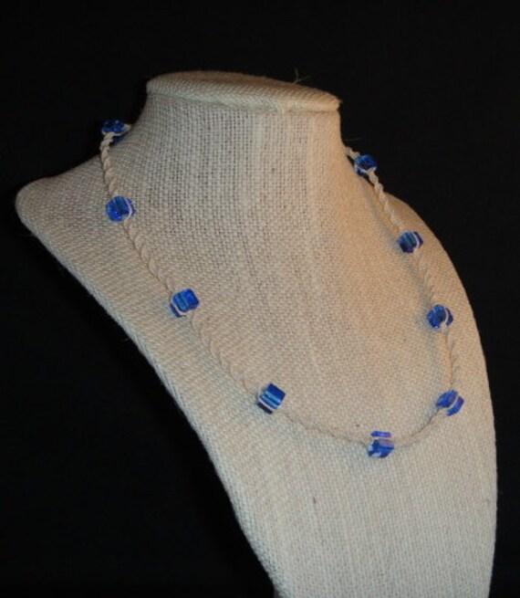 White hemp necklace, translucent blue
