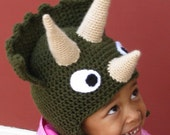 Triceratops Hat - Child or Adult in Forest Green with Cream Horns