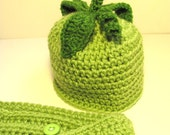 Pea Pod Hat and Diaper Cover Set
