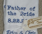 2 Personalized Wedding Handkerchief Custom Embroidered