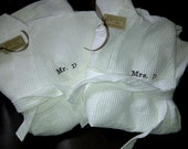 Set of 2 Personalized Spa Robes & Slippers -  Embroidered Monogram Bath Robe Waffle Weave 100% Cotton - Unique Wedding Gift