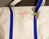 X L Canvas PERSONALIZED TOTE Beach Bag Diaper Bag Family CARRY All