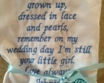Rush - FATHER of the BRIDE - SCRIPT Heirloom Personalized Wedding Handkerchief Custom Embroidered
