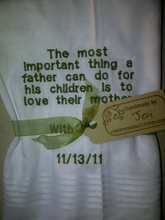 Father of the Bride - Personalized Wedding Handkerchief Custom Embroidered