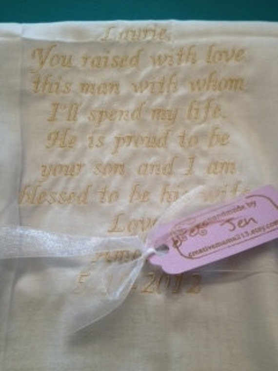 MOTHER in LAW SCRIPT Heirloom Personalized Wedding Handkerchief Custom Embroidered