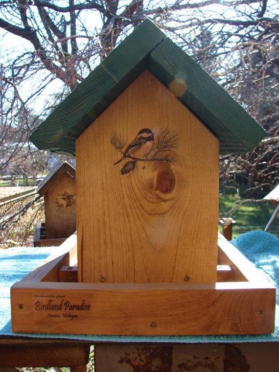 Chickadee Wooden Bird Feeder