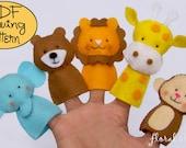 Digital Pattern: Zoo Friends 01 Felt Finger Puppets