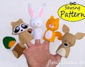 Digital Pattern: Woodland Creatures 02 Felt Finger Puppets