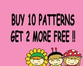 Buy 10 Digital Patterns Get 2 More Free
