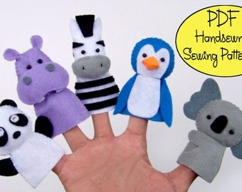 Digital Pattern: Zoo Friends 02 Felt Finger Puppets