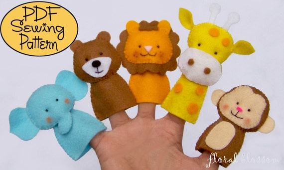 Digital Pattern: Zoo Friends 01 Felt Finger Puppets