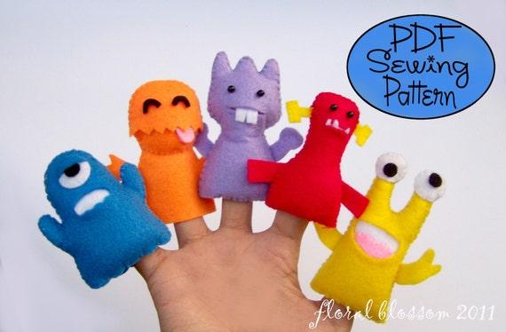 Digital Pattern: Little Monsters Felt Finger Puppets
