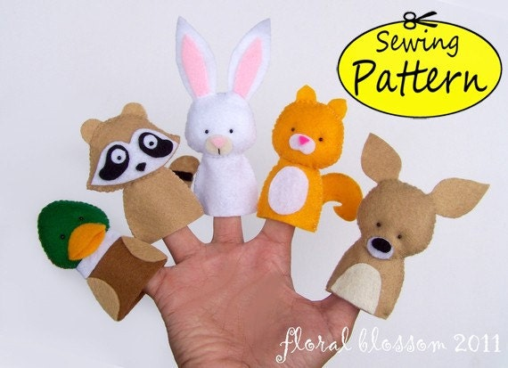 Digital Pattern: Woodland Creatures 02 Felt Finger Puppets